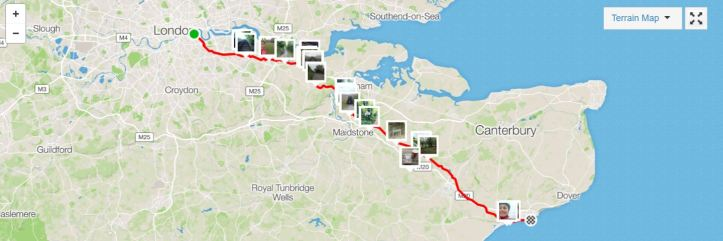 Ride London to Folkestone 21 April map